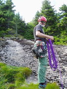Rock Climbing Photo: Where we unroped: the grassy ledges at the top of ...