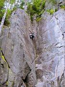 Rock Climbing Photo: JP on the upper splitter crack of Toxic Shock