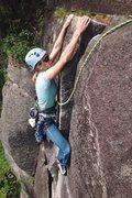 Rock Climbing Photo: Ericka happy to reach the finish jug on pitch 3