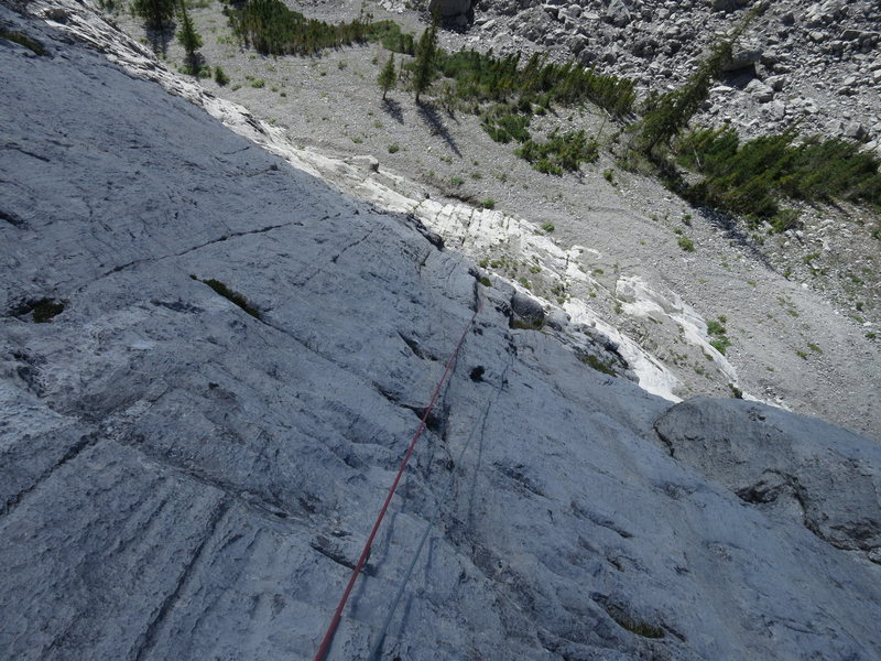 Looking down from the pitch 1 belay. This is typical terrain on the first few pitches