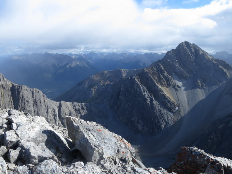 Mt Cory and Cory pass from the summit of Mount Louis