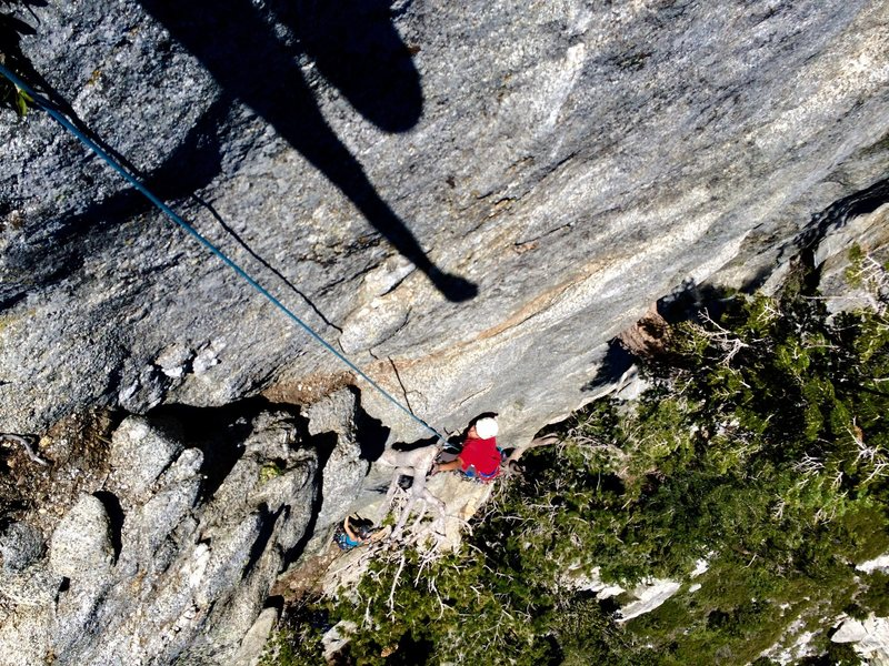 Rock Climbing Photo: Hunter Reinig at the top of P2!