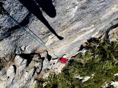 Rock Climbing Photo: Hunter Reinig at the top of P2!