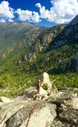 Rock Climbing Photo: Chris Norwood at the top of the Mystery Notch pitc...