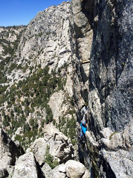 Rock Climbing Photo: Jonathan Reinig climbing up the 5.8 variation of t...