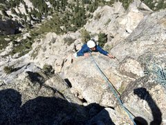 Rock Climbing Photo: Hunter at the Top of the Black Tower Pitch!