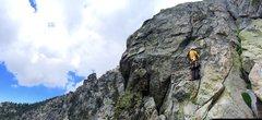 Rock Climbing Photo: Mr. Norwood firing the last crux 5.8R variation!!