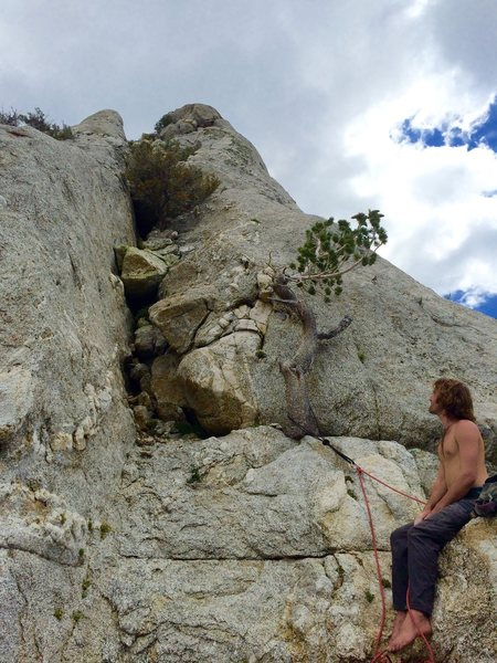 Rock Climbing Photo: Norwood at his plush belay for the last pitch to t...