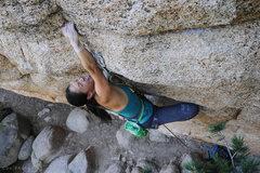 Rock Climbing Photo: Rita Shin making a big reach on Joe's.  Photo by S...