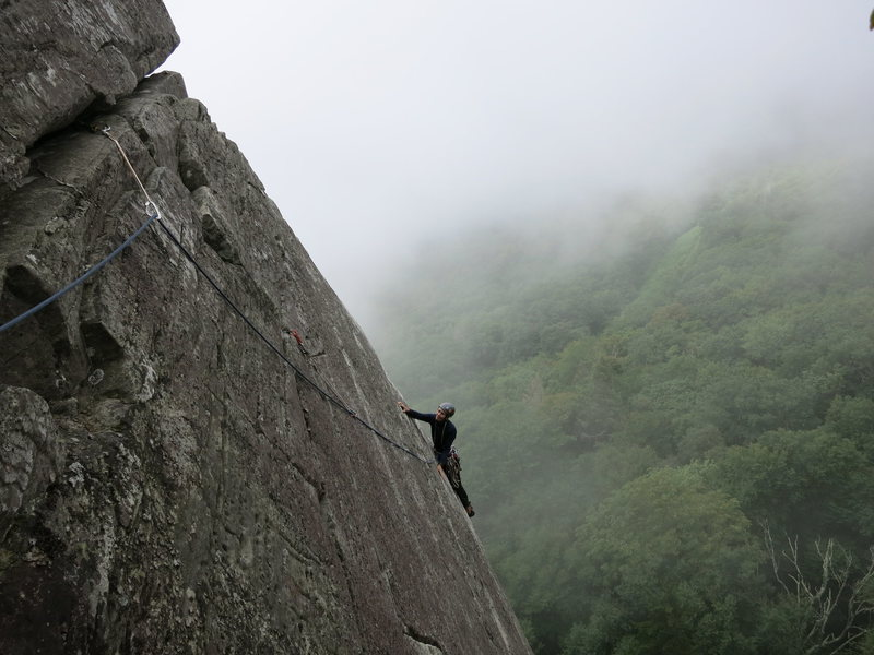 Rock Climbing Photo: Joselyn Todd is at the last traverse on the first ...