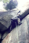 Rock Climbing Photo: JP busting the roof move, pitch 2, GM route