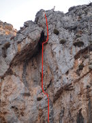 Upper section of the climb. Find the mountain goat! The gap in the line is the crux.