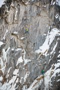Rock Climbing Photo: P2 of Ha Dov, Bear Creek Falls Wall, Ouray.  Photo...