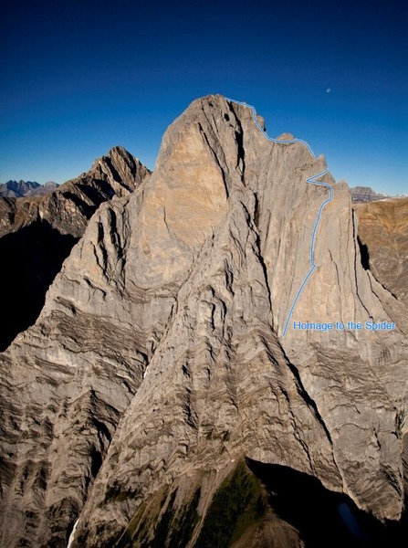 Mount Louis with the line of Homage to the Spider shown