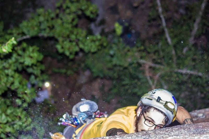 """The headlamp first ascent of """"Oral in the Dark"""" (5.10c R)."""