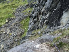 Rock Climbing Photo: Looking down Rise from the pitch 2 anchor