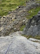 Rock Climbing Photo: Looking down Rise from the pitch 1 anchor