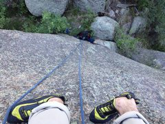 Rock Climbing Photo: Looking down the 5.9.