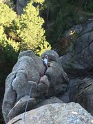 Rock Climbing Photo: Ben coming up Solitaire. We slung a horn and place...