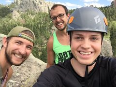 Rock Climbing Photo: Summit Selfie with Cody and Matt on top of Hornet'...