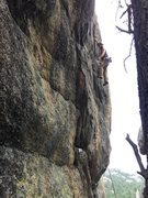 Rock Climbing Photo: Matt S. working Valdez's Overhang (5.9)