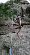 Rock Climbing Photo: Shoeless scramble up Beyond Beauty near sundown