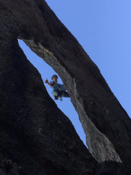 Rock Climbing Photo: Hanging out after leading Gossamer. I had my belay...