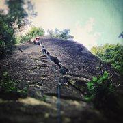 Rock Climbing Photo: Seth leading Battered Sandwich