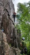 Rock Climbing Photo: Pulling through the boulder problem on lead