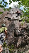 Rock Climbing Photo: One move away from the jug at the second horizonta...