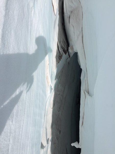 Hanging in a crevasse (practicing crevasse rescue scenarios) on the cowlitz glacier.