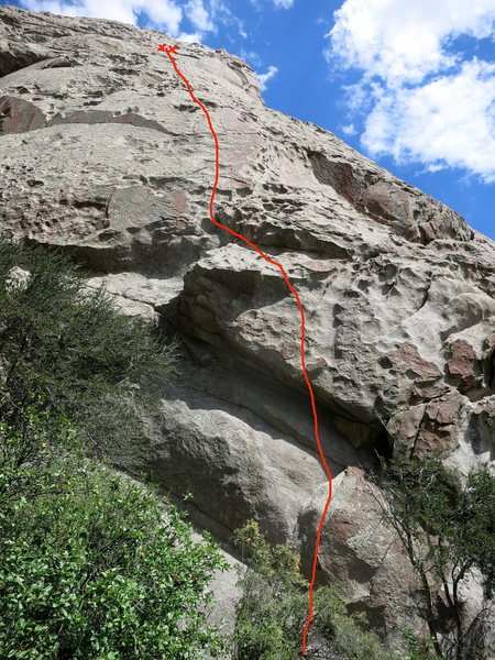 Earth Muffin 5.10c/d in Hostess Gully.  New bolted line between Twinkie and Zinger.  Optional cam placement after the overlaps to protect the step left at about 40 feet.