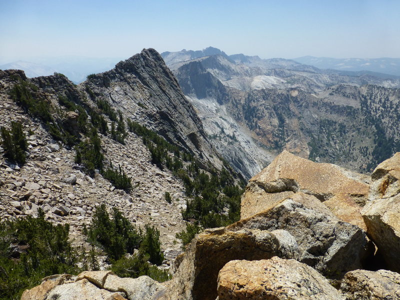 The West Summit Ridge of Tuolumne Peak from the north-most of the three summits