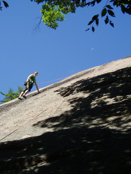 """Sunny climbing, shaded belaying...A.Byers, """"Washboard"""" and the moon"""