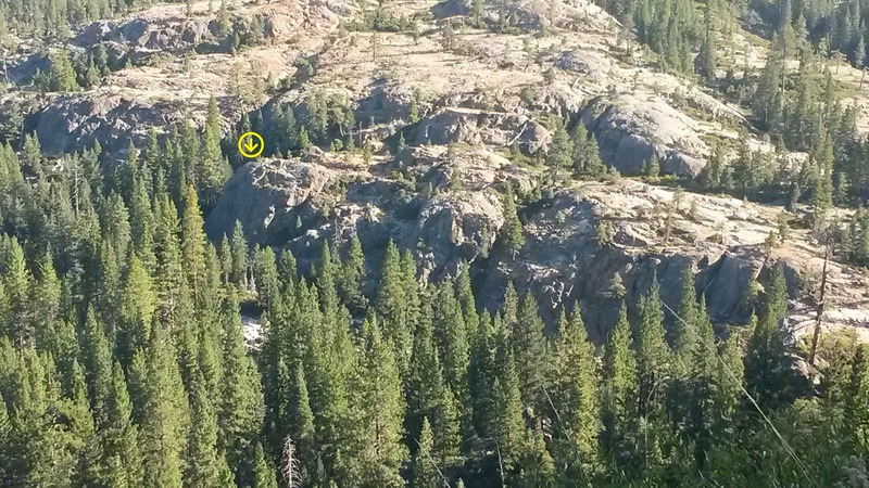 Canyon Creek Crag. Yellow arrow points to the location of Rockytop