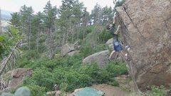 Rock Climbing Photo: The crux move.