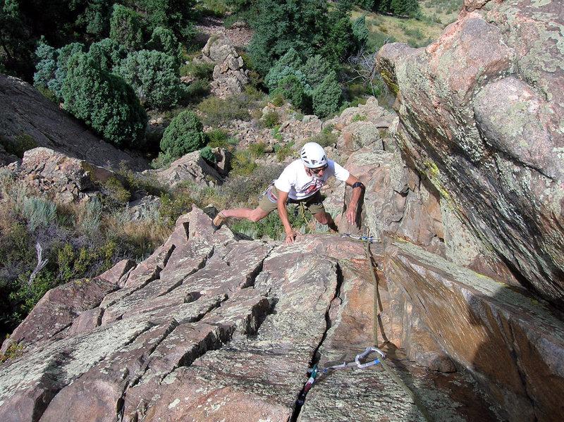 Rock Climbing Photo: Doug romps upward.