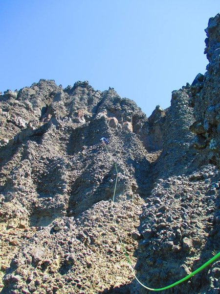 First ascent of fourth pitch.