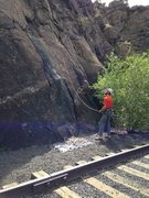 Belaying by the tracks.
