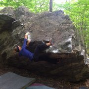 Rock Climbing Photo: Riley mid-crux sending her first outdoor v3!