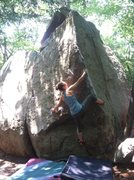 Rock Climbing Photo: Riley reaching out to the aerie, its a long reach ...