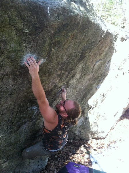 Rock Climbing Photo: Timmy hitting the crimp before the bump to the lip