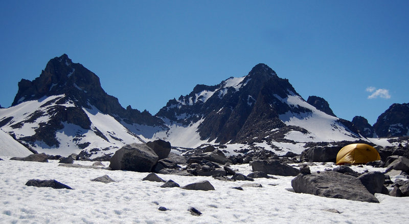 Mount Winchell and Agassiz from Palisade Glacier.