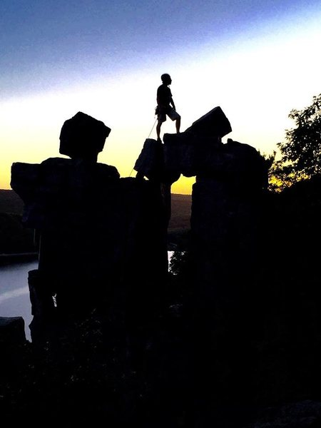 Rock Climbing Photo: Sunset on Devils Doorway, Devils Lake, WI