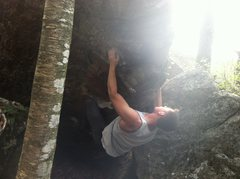 Rock Climbing Photo: Pulling around the corner. Out of the dark and int...