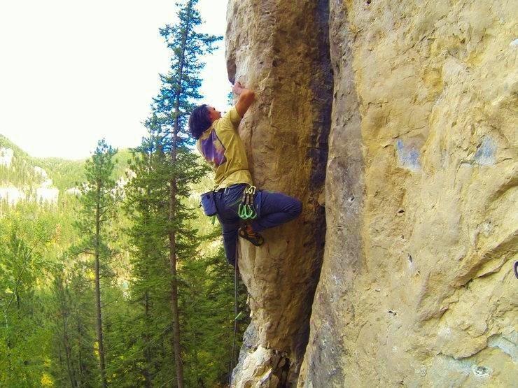 Rock Climbing Photo: Austin on Turrets Arete, 5.12b