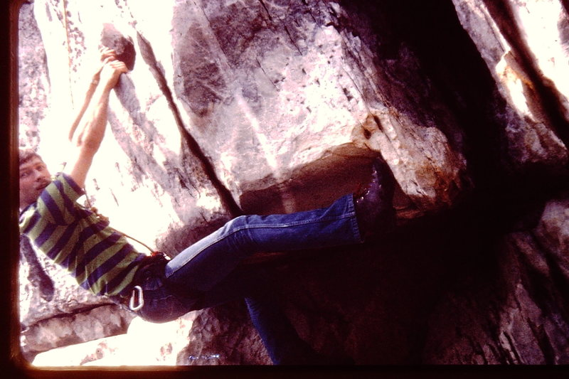 David Engel climbing Bull Run Overhang.  circa 1979   Wearing RR's (Royal Robins rock climbing shoes).