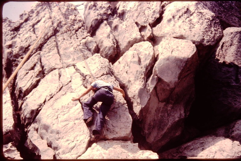 Dona Wells climbing at Bull Run Mountain, circa 1979.