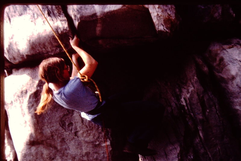 Rock Climbing Photo: Dona Wells on Bull Run Overhang.  Circa 1979.