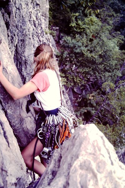 Rock Climbing Photo: Karen Hoffman leading the 2nd pitch of Old Ladies ...